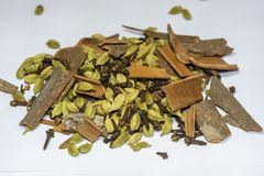Heap Of Garam Masala,Indian Spices On A White Background stock photo