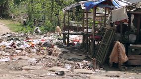 Heap of garbage, unsanitary conditions stock footage