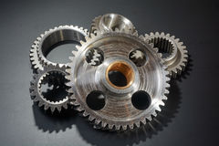 Heap of gears. Heap of brilliant gears on a black background Royalty Free Stock Images