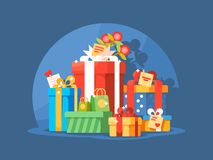 Heap of gift boxes. For christmas or birthday holiday. Vector illustration royalty free illustration