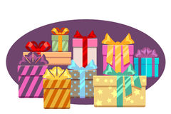 Heap of gift boxes with ribbon bows isolated over white. Heap box for christmas, vector illustration stock illustration