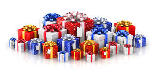 Heap of gift or present boxes with ribbon bows and label tags Royalty Free Stock Photo