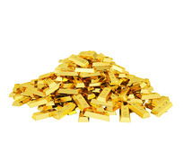 Heap of gold bars Royalty Free Stock Images