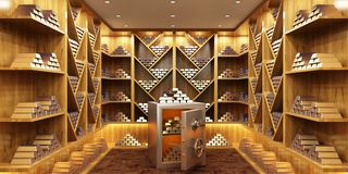 Heap of gold bullion and safe deposit box in room. Heap of gold bullion and safe deposit box royalty free stock photo