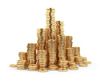 Heap gold coin 3D. Business concept.  on white. Background Stock Images