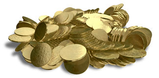 Heap Of Gold Coins. A closeup shot of a scattered heap of gold coins on an isolated background stock illustration