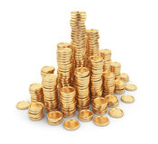 Heap gold coins 3D. Business concept.  on white Royalty Free Stock Photos