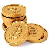 Heap of gold coins with bitcoin sign. Stock Photos