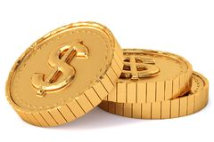 Heap of gold coins with dollar sign. Stock Photography