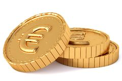 Heap of gold coins with euro sign. Royalty Free Stock Photo