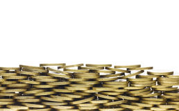 Heap of Gold Coins Forming Bottom Frame Border Royalty Free Stock Images