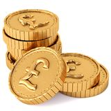 Heap of gold coins with pound sterling sign. Stock Images