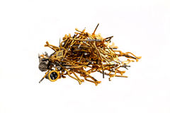 Heap of gold radio components. And detail stock image