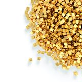 Heap of golden cubes Stock Images