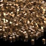 Heap of golden cubes Stock Photos