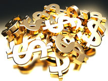 Heap of golden dollar signs Stock Image