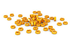 Heap of Golden Screw Steel Nuts Stock Images