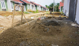 Heap of gravels and sands for real estate building project at Dramaga Bogor Indonesia Stock Image