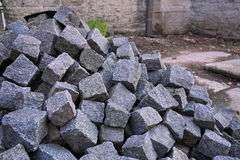 Heap of gray cobbles prepared on the construction site Royalty Free Stock Images