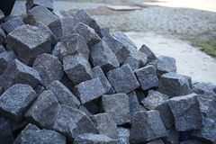 Heap of gray cobbles prepared on the construction site Royalty Free Stock Image