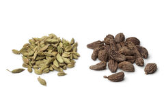 Heap of green and black Cardamom seeds Stock Image