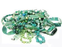 Heap of green colored beads Royalty Free Stock Image