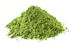 Heap of green matcha tea powder Stock Photo