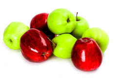 Heap of green and red apples Stock Photos