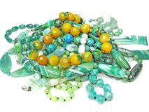Heap of green semigem beads Stock Photos