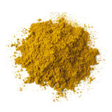 Heap of ground Garam masala. Powder on white background Stock Photo