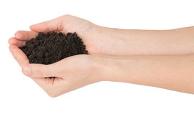 Heap of ground in humans hands. On isolated white background Stock Photography