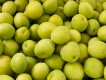 Heap group of fresh green plum Stock Photos