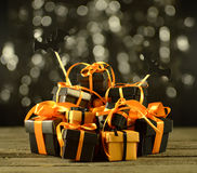 Heap of Halloween gifts with bats Stock Photo