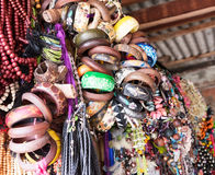 Heap of handcrafted souvenirs at flea market. Royalty Free Stock Photos