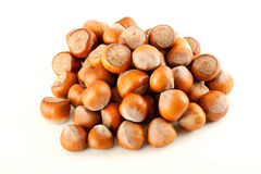 Heap of hazelnuts. Isolated on white background Royalty Free Stock Images