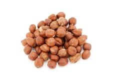 Heap of hazelnuts isolated on white background. Royalty Free Stock Photos