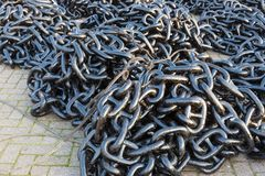 Heap of heavy iron chains Royalty Free Stock Image