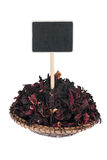 Heap of hibiscus  in a plate, with a pointer for your text Stock Image