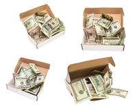 Heap of hundred dollar bills in a big present box. isolated Royalty Free Stock Image