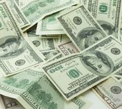 Heap of hundred dollar bills. Background Royalty Free Stock Photo