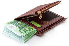 Heap of hundred euros in banknotes in a wallet Stock Images