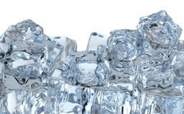 Heap of ice cubes. Heap of many blue clear ice cubes isolated on white background stock illustration