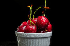Heap of juicy wet cherries Royalty Free Stock Images