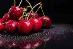 Heap of juicy wet cherries Stock Photo