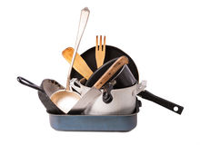Heap of kitchen bakeware with pan and pot Stock Photo