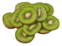 Heap of kiwi slices on a white Royalty Free Stock Image