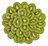 Heap of kiwi slices on a white Stock Image