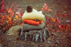 Heap of knitted sweaters Royalty Free Stock Photo