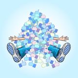 A heap of likes overwhelmed the boy. Popularity and a lot of likes pinned the famous blogger royalty free illustration