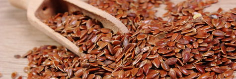 Heap of linseed with spoon on wooden background Stock Images